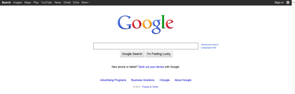 Google.com looked in 2012