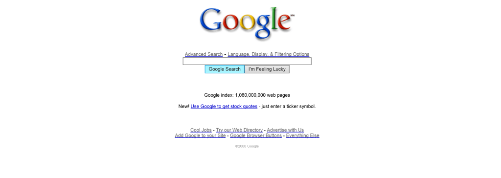 Google.com looked like in 2000