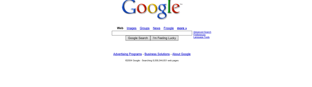 Google.com looked like in 2004 IPO
