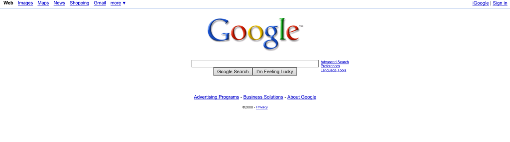 Google.com looked like in 2008