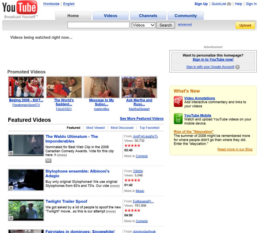 YouTube.com 2008