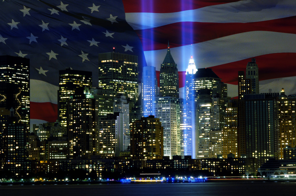 "The ""Tribute in Light"" memorial is in remembrance of the events of September 11, 2001, in honor of the citizens who lost their lives in the World Trade Center attacks.  The two towers of light are composed of two banks of high wattage spotlights that point straight up from a lot next to Ground Zero. The ÒTribute in LightÓ memorial was first held in March 2002. This photo was taken from Liberty State Park, New Jersey on September11, 2006, the five year anniversary of 9/11. USAF photo by Denise Gould."