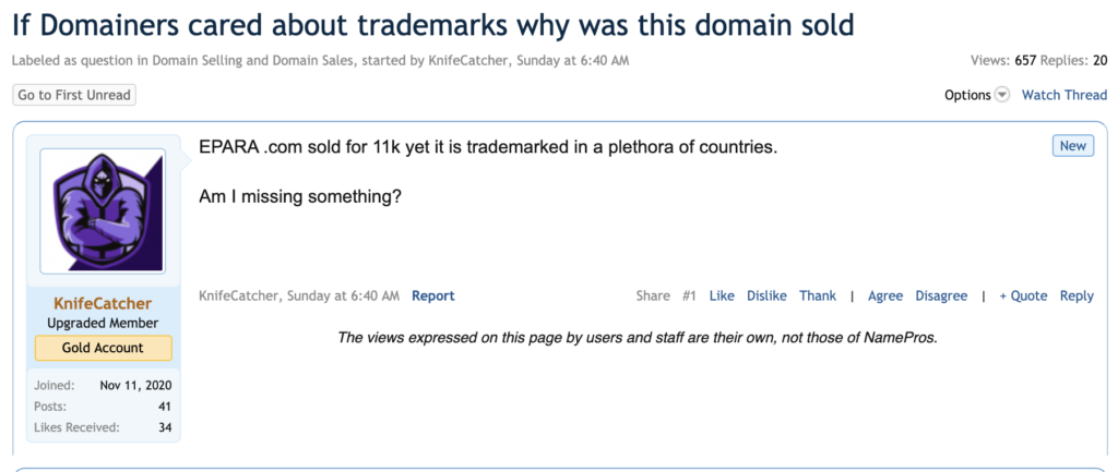 Domain Name Trade Mark Law